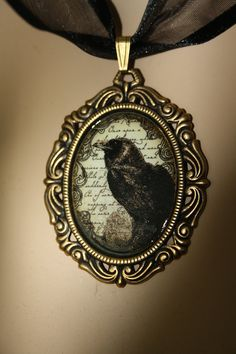 Gothic necklace  Edgar allen poe  the raven by poppenkraal on Etsy