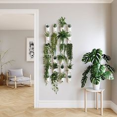 hanging plants indoor Create a green wall in your living space with an easy to use, modern and eye-catching set of wall vessels from Umbra. Introducing Floralink by Umbra. Indoor Plant Wall, Plant Wall Decor, House Plants Decor, Indoor Plants, Hanging Plant Wall, Living Room Plants Decor, Diy Wall Planter, Wall Mounted Planters Indoor, Home Plants