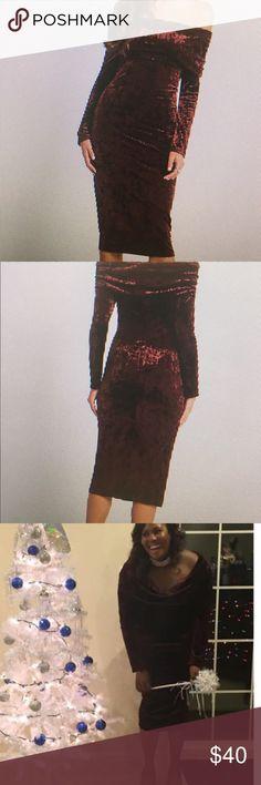 Velvet dress Crushed velvet off the shoulder dress BCBGeneration Dresses Midi