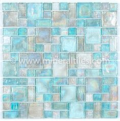 Mineral tile Iridescent Glass Mosaic Tile Clear Random Blend is face mounted on a 12 inches by 12 inches clear tape sheet for an easy installation. Each individual tile chip is thick. Iridescent glass tiles re French Pattern, 3d Home, Glass Mosaic Tiles, Cement Tiles, Stone Mosaic, Stone Tiles, Crackle Glass, Bath Remodel, Restroom Remodel
