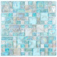 Iridescent Glass Mosaic Tile Clear Random Blend