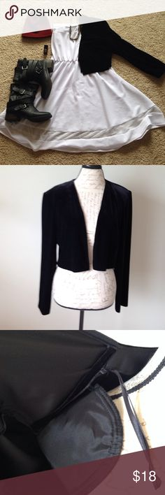 90s Black Velvet Cropped Jacket Retro 90s black velvet long sleeved jacket/open cardigan with shoulder pads!  Perfect over a dress with boots, or jeans and a tee shirt.  Or high waisted cut offs and a bandeau.  Plaid mini skirt maybe?  Excellent condition, dry clean only.  Synthetic velvet, 90% polyester and 10% spandex.  Lining is acetate. Alex Evenings Jackets & Coats
