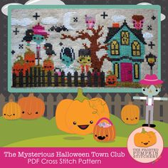 The Mysterious Halloween Town Club PDF Cross Stitch Pattern / The Frosted Pumpkin Stitchery