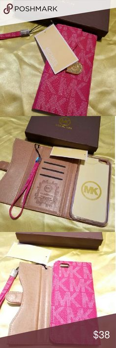 Case wallet iPhone 6/6s hot pink Brand New in rentail packaging this beautiful Wallet case has a slot for your ID cards and a pocket for Cash keeps your Phone safe and allows access to all ports and camera it's in color hot pino with? wristlet and super cute Michael Kors Accessories Phone Cases