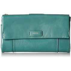Fossil Ellis Wallet Clutch (16 KWD) ❤ liked on Polyvore featuring bags, handbags, clutches, fossil clutches, lamb leather handbags, green handbags, lambskin purse and fossil purses