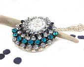 galaxy necklace - vintage white cabochon with glitter flakes and rhinestones