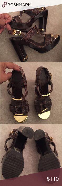Tori Burch Karmen Chucky Heel Sandals Gently used sandals minor scrapes on heel Tory Burch Shoes Sandals