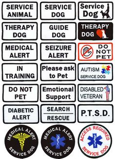 Service Dog Patch -- Therapy Dog -- Choose from 21 different Service Dog Patches