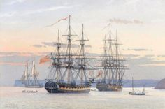 "HMS Aquilon Hermione class 12 pounder fifth rate frigate. HMS Pallas name ship of class of 18 pounder frigates. ""The Frigates 'Aquilon' 32 and the 'Pallas' 32 at Anchor in Tor Bay, by Derek Gardner. Old Sailing Ships, Ship Paintings, Ship Of The Line, Man Of War, Naval History, Wooden Ship, Nautical Art, Armada, Navy Ships"