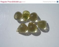 Lemon Quartz Multi Faceted Pear Drops by MoonwitchDesigns on Etsy, $7.50