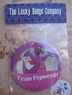 "Figment ""I'm Celebrating"" parody button badge. Walt Disney World."