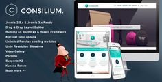 Consilium - Multipurpose Creative Joomla Template . JM Consilium is a multi-purpose professional Joomla 2.5 & Joomla 3 template. It is one of the best templates for personal portolios, creative agencies, corporate businesses and freelance workers. With its intuative administrator panel, full documation and video tutorials, the template can be easily
