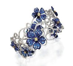 18K White Gold, Titanium, Diamond and Colored Diamond Bracelet♥•♥•♥