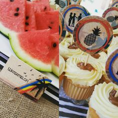 Watermelon is always welcome around the pool! Cupcake toppers can be used for finger snacks too.