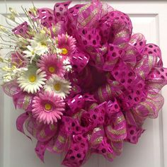 Spring Deco Mesh Wreath.  Easter Wreath.  Large Pink Spring Wreath. Spring Daisies. on Etsy, $64.95