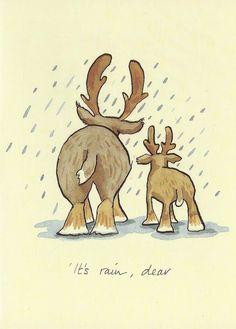 Karte mit zwei Rentieren von hinten, im Regen, und Wortspiel It's rain, dear, gezeichnet von Anita Jeram