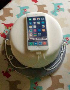 16th birthday cake complete with iPhone 6s and headphones. Cake is lemon sponge, lemon buttercream and homemade lemon curd.