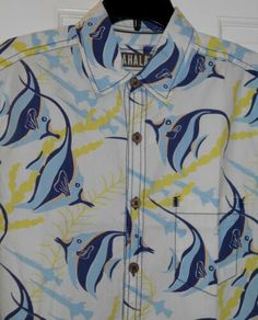 a9feedd3 NEW $98 KAHALA RETRO HAWAIIAN ANGEL FISH SEA WEED COTTON SHIRT ~S~44