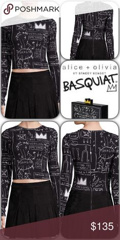 "A&O Basquiat Beat Pop Crop Top From the limited and exclusive capsule collective! alice + olivia by Stacey Bendet features  the work of '80s Neo-Expressionist Jean-Michel Basquiat. From the Alice + Olivia x Basquiat Collection * Slim cropped top in illustrated design * Banded crewneck * Long sleeves * Pullover style * About 19"" from shoulder to hem * Viscose/elastane * Dry clean * Imported sold out at Saks and elsewhere! Alice & Olivia Tops Crop Tops"