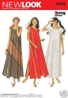 New Look 6229 Sewing Pattern Diagonal Contrast Loose Fit Dress Ladies Size 8-18