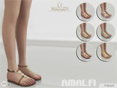 Flat sandals decorated with seashells. Come in 7 colours (patent leather texture). Joints are perfectly assigned. All LODs are replaced with new ones. Found in TSR Category 'Sims 4 Shoes Female'