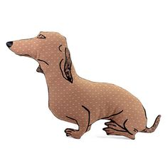 dachshund dog shaped pillow softie spotted brown by pattihaskins, $35.00