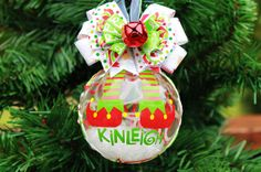 Glass Custom Name Rudolph Red Green Elf Shoes Hand Painted Custom Personalized Christmas Ornament Ball