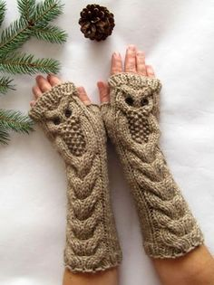 Owl Alpaca Light Brown Beige Long Hand Knit Cable Pattern Fingerless Gloves, available at SheepyFibresEtc on Etsy (no pattern) Fingerless Gloves Knitted, Crochet Gloves, Knit Mittens, Knit Or Crochet, Knitted Owl, Loom Knit, Crochet Pattern, Cable Knitting Patterns, Hand Knitting