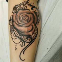 Rose and lace tattoo by Sarah J  #TattooIdeas #RoseTattoo #Tattoo #Beautiful #Ink