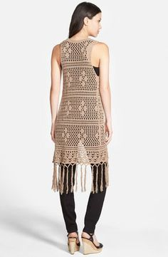 Free shipping and returns on Love Fate Destiny Long Crochet Vest with Fringe at Nordstrom.com. An open crochet knit shapes a boho-chic layering piece that stays true to its retro roots with tasseled ties closing the front and knotted fringe swaying at the hem.