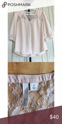Frenchi Cute Cream Top Size: Medium Frenchi Tops Button Down Shirts