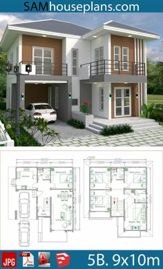 House plans with 5 beds – Sam house plans – - Home & DIY Two Story House Design, 2 Storey House Design, Bungalow House Design, House Front Design, Small House Design, House Exterior Design, Two Storey House Plans, Model House Plan, Duplex House Plans