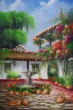 Casa de tejas con flores.