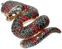 "I love snake-inspired jewelry. ""Zorab ruby and black diamond ring"""