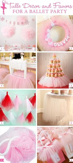 Adorable ideas for a ballerina themed party. Great decor ideas inspired by tutus.