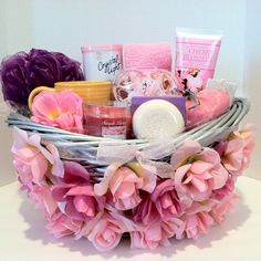 A luxurious gift basket perfect for anyone who needs pampering with a cherry blossom scent Candle Cup Sponge Bath Salt Cleansing Soap Shea Butter Soap Rose Petals Crystal Light Foot Lotion Luxury Socks A Pair Pumice Stone Hand Design. Mothers Day Baskets, Mother's Day Gift Baskets, Diy Mothers Day Gifts, Mothers Day Spa, Raffle Baskets, Spa Basket, Basket Ideas, Cheap Candles, Mother's Day Diy