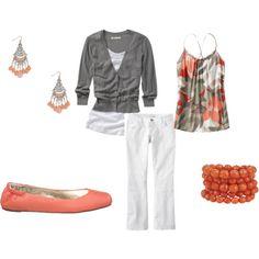 do I like white pants? probably not but i like everything else...minus the earrings.