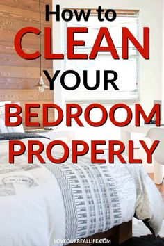 Tips to Clean a Bedroom: Day 5 of the Week Long Cleaning Series Need tips for a clean bedroom? Learn these simple steps for an easier morning and clean your bedroom properly! A tidy bedroom also makes for a better nights rest! Weekly House Cleaning, Daily Cleaning, Cleaning Checklist, House Cleaning Tips, Deep Cleaning, Spring Cleaning, Cleaning Hacks, Bedroom Cleaning Tips, Domestic Cleaning