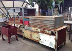 Old industrial workbenches and metal, Vintage Trader, North Geelong.