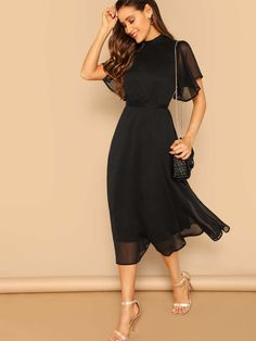 Shein Glamorous Black Mock-neck Knot Back Sheer Panel Dress 2019 Spring A Line Butterfly Sleeve Stand Collar Elegant Dresses Summer Dresses For Women, Spring Dresses, Fit And Flare, Panel Dress, Dress With Bow, Collar Dress, Elegant Dresses, Flare Dress, Fashion Dresses