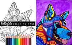 German Shepherd Dog coloring, coloring book, adult coloring book, coloring pages, adult coloring pages, coloring book for adults, printable