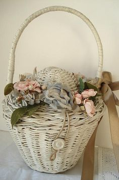Vintage Wicker Basket with  Rose Quartz and Serenity blue flowers