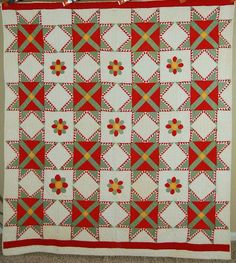 MUSEUM QUALITY Vintage 1890s Feathered Star & Applique Antique Quilt ~♥~