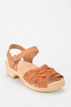 Swedish Hasbeens Braided Leather Platform Sandal