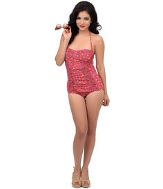 Vintage #PinUp Ruched Tiki One Piece Swimsuit #uniquevintage