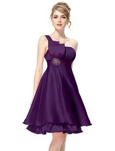 Ever Pretty Ruffles Silk Satin Bow Rhinestones One Shoulder Cocktail Dress 03229
