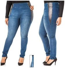 Add elastic to jeans waistline. Could work for too tight pants or even for those that gape in the back - SalvabraniNew 2017 winter new plus velvet thick high waist stretch skinny warm jeans – ArtofitTake in pants under the belt loopo Lace Jeans, Old Jeans, Refaçonner Jean, Cool Outfits, Casual Outfits, Sweatshirt Makeover, Techniques Couture, Striped Jeans, Recycle Jeans