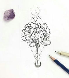 New Tattoo Lotus Flower Geometric Beautiful 68 Ideas Pin Up Tattoos, Love Tattoos, Beautiful Tattoos, Body Art Tattoos, New Tattoos, Tatoos, Chrysanthemum Tattoo, Botanical Line Drawing, Plant Tattoo