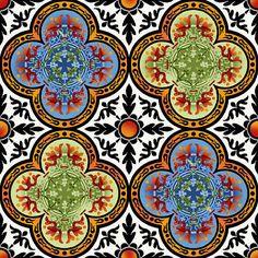 in the beginning fabric   In The Beginning Fabrics- Avalon - Stained Glass Quatrefoil - by Jason ...