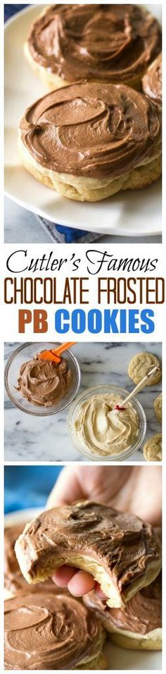 Cutler's Famous Chocolate Frosted Peanut Butter Cookies - not one frosting but two! One of my absolute favorite cookies. #peanutbutter #cookie the-girl-who-ate-everything.com